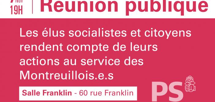 Réunion publique Mardi 7 novembre à 19h : les élus socialistes et citoyens rendent compte de leurs actions au service des montreuillois-es